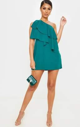 PrettyLittleThing Emerald Green One Shoulder Ruffle Detail Shift Dress