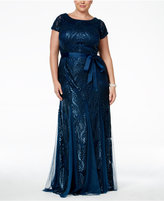 Adrianna Papell Plus Size Sequined Bow Sash Gown