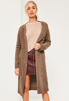 Missguided Brown Slouchy Boucle Edge To Edge Cardigan