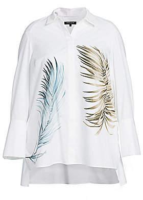 Lafayette 148 New York Lafayette 148 New York, Plus Size Women's Porto Leaf-Print Cotton Shirt