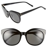 Linda Farrow Women's 56Mm Cat Eye Sunglasses - Black/ Black