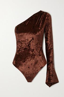Alix Halsey One-sleeve Stretch-crushed Velvet Thong Bodysuit - Brown