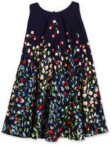 Helena Sleeveless Floral Crepe Swing Dress, Navy, Size 7-14