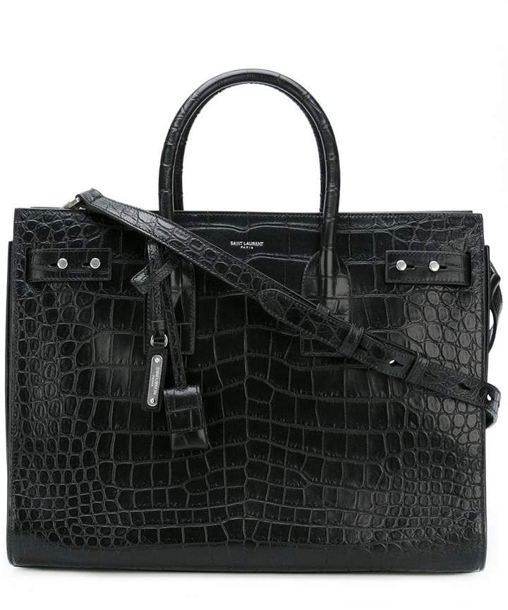 Saint Laurent crocodile embossed Sac Du Jour tote