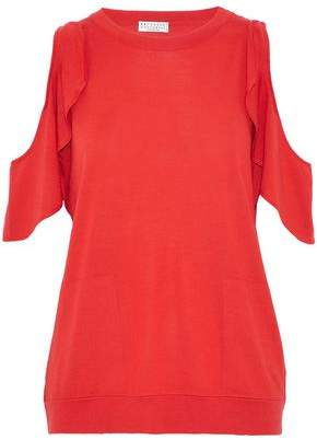 Brunello Cucinelli Cold-shoulder Ruffled Wool And Cashmere-blend Sweater