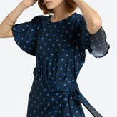 La Redoute Collections Short Polka Dot Dress with Short Butterfly Sleeves and Tie-Waist