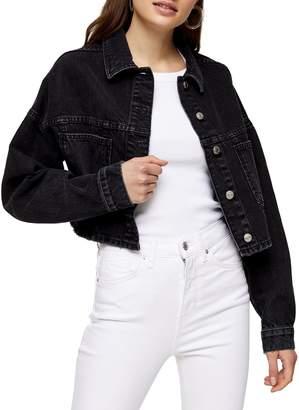 Topshop Washed Crop Denim Jacket