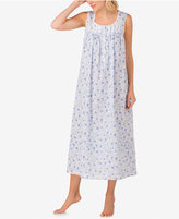 Eileen West Lace-Trimmed Printed Cotton Ballet-Length Nightgown