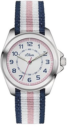 S'Oliver Girls' Analogue Quartz Watch with Fabric Strap SO-3133-LQ