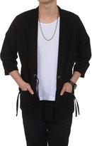 Lantusien Vintage Kiono Cardigan Casual Linen Belt Clothes Pocket Cardigan Coat