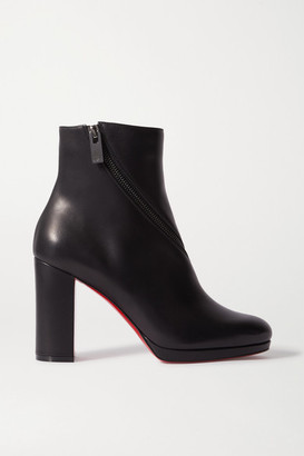 Christian Louboutin Birgitta 100 Zip-detailed Leather Ankle Boots - Black
