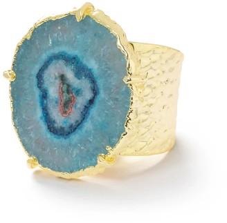 Yaa Yaa London Turquoise Gemstone 'Solar Power' Gold Statement Ring