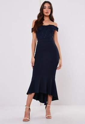 Missguided Petite Bridesmaid Navy Lace Bardot Fishtail Midi Dress