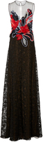 Naeem Khan Sleeveless Chiffon Applique And Lace Gown
