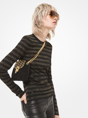 Michael Kors Metallic Striped Stretch-Viscose Long-Sleeve Shirt