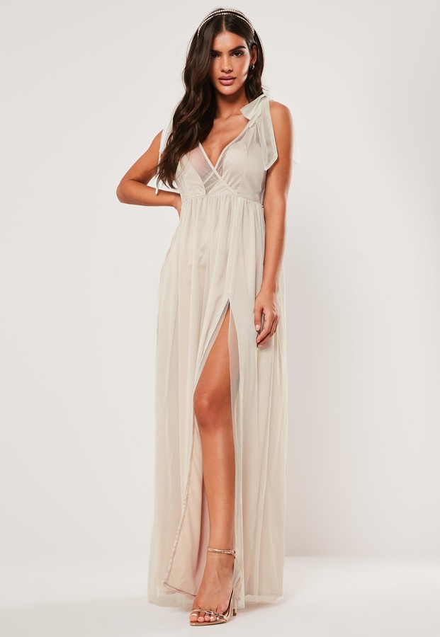 Missguided Bridesmaid Blush Tie Strap Organza Maxi Dress