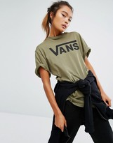 Vans Classic Logo Boyfriend T-Shirt In Khaki