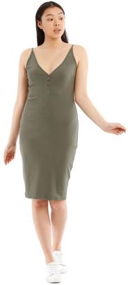 Miss Shop Fitted Rib Midi Dress