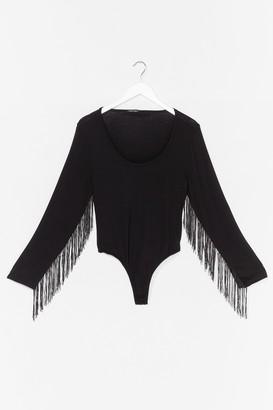Nasty Gal Womens Living On the Edge Plus Fringe Bodysuit - Black - 24, Black