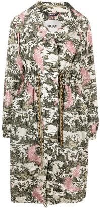 Bazar Deluxe Nature-Inspired Print Zip-Up Raincoat