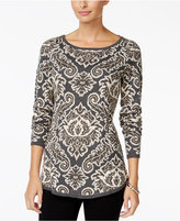 Charter Club Paisley-Print Boat-Neck Sweater, Only at Macy's