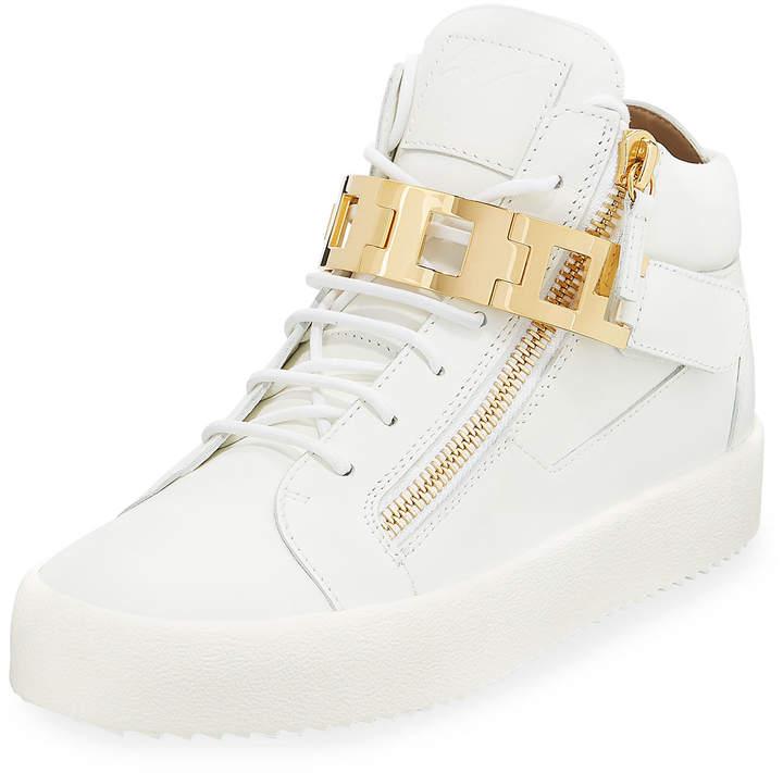 Giuseppe Zanotti Men's Leather Mid-Top Sneaker w/Link-Bracelet Strap, White