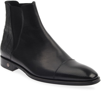 Roberto Cavalli Men's Cap-Toe Leather Booties