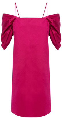 Theory Cold-shoulder Gathered Stretch-cotton Twill Mini Dress