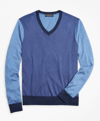 Brooks Brothers Silk and Cotton Color-Block V-Neck Sweater