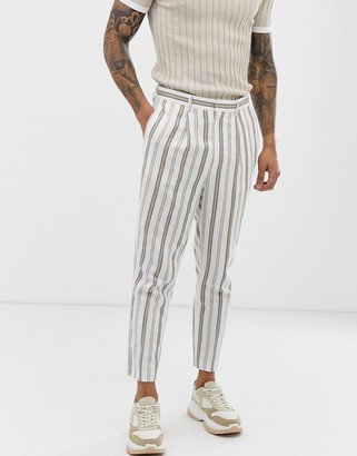 Asos Design DESIGN tapered crop smart pants in white linen mix stripe