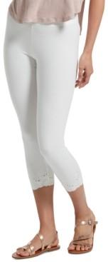 Hue Women's Embroidered-Eyelet-Hem Capri Leggings