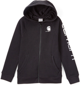 Carhartt Caviar Black Logo Zip-Up Hoodie - Girls
