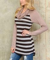 Celeste Taupe Stripe Cowl Neck Top