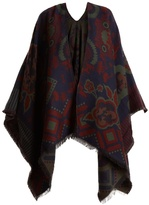 Etro Floral-intarsia wool-blend wrap