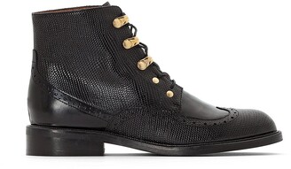 Jonak Demoti Leather Ankle Boots in Faux Snakeskin with Laces