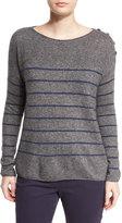 Loro Piana Striped Shepherd Bay Sweater, Gray Melange
