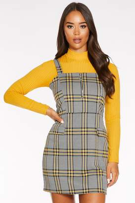 Quiz Black and Yellow Check Zip Front Pinafore Dress