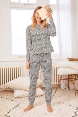 Next Womens Black Heart Cotton Pyjamas - Black