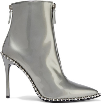 Alexander Wang Eri Studded Metallic Patent-leather Ankle Boots