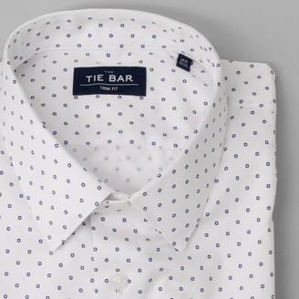 Tie Bar Printed Dot White Dress Shirt