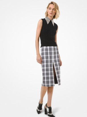 Michael Kors Tartan Wool and Cotton Slit Pencil Skirt