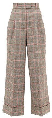 Miu Miu Prince Of Wales-check Wool Wide-leg Trousers - Beige Multi