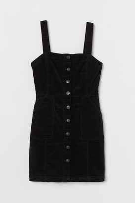 H&M Zip-front Overall Dress - Black