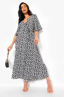 boohoo Floral Print Wrap Maxi Dress