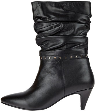 Monsoon Slouch Studded Leather Boots - Black