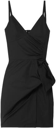 Victoria Victoria Beckham Bow-detailed Cotton-poplin Mini Slip Dress