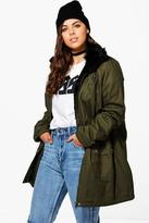 Boohoo Plus Izzy Faux Fur Detail Parka