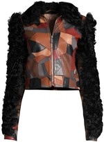 Michael Kors Cropped Patchwork Leather Shearling Jacket