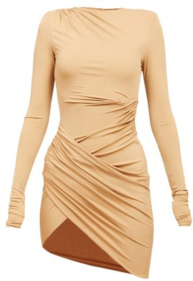 Alexandre Vauthier Asymmetric Draped-jersey Mini Dress - Beige