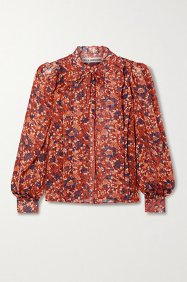 Ulla Johnson Edith Floral-print Fil Coupe Silk And Lurex-blend Blouse - Red
